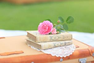 トランクの上の本とバラの花の写真素材 [FYI02028192]