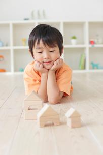 リビングで積み木遊びをする男の子の写真素材 [FYI02028302]