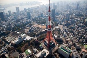 ヘリコプターから望む東京タワーの写真素材 [FYI02028339]