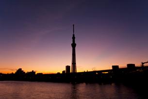 日の出前の東京スカイツリーの写真素材 [FYI02028413]