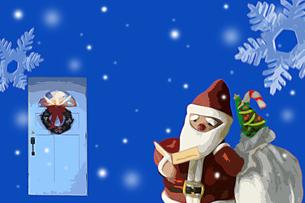 サンタクロースの人形とドアと雪 イラストのイラスト素材 [FYI02028511]