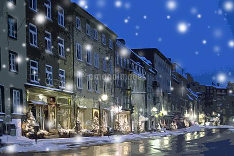 雪の中のケベックの街並 CGの写真素材 [FYI02028515]