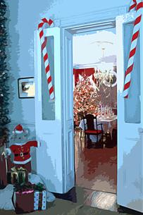 クリスマスのプレゼントとドアと飾りのイラスト素材 [FYI02028516]