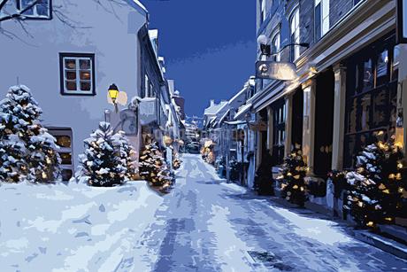 クリスマスツリーのある雪のケベックの街並み CGのイラスト素材 [FYI02028517]