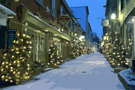 クリスマスツリーのある雪のケベックの街並み CGのイラスト素材 [FYI02028521]