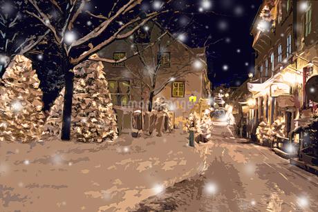 クリスマスツリーのある雪のケベックの街並み CGの写真素材 [FYI02028524]