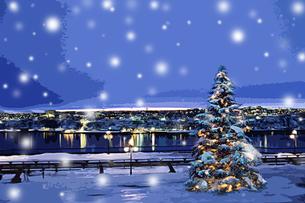 雪の中のクリスマスツリー CGの写真素材 [FYI02028527]
