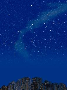 ビル群と冬の夜空のイラスト素材 [FYI02028534]