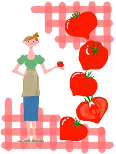 女性の生活イラスト トマトと女性のイラスト素材 [FYI02028746]