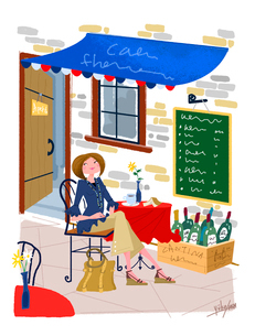 女性の生活イラスト カフェにいる女性のイラスト素材 [FYI02028782]