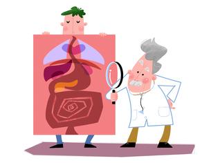 健康診断を受ける患者と医師のイメージのイラスト素材 [FYI02028838]