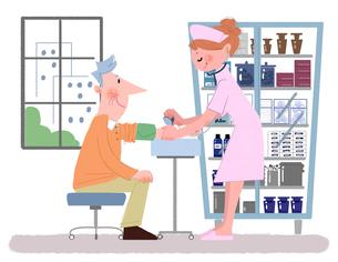 健康診断の患者と看護婦のイラスト素材 [FYI02028881]