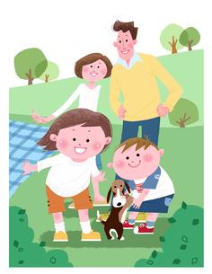 犬を連れてピクニックを楽しむ家族のイラスト素材 [FYI02028888]