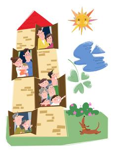 エコロジー住宅に住む家族のイメージのイラスト素材 [FYI02028897]