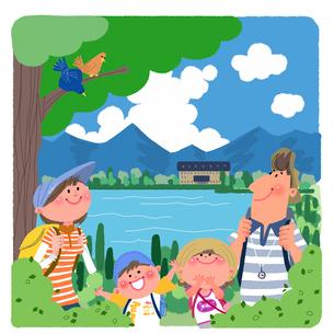 夏休み旅行の家族イメージのイラスト素材 [FYI02028968]