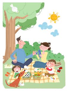 ピクニックをする家族のイラスト素材 [FYI02028984]