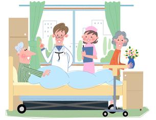 入院患者を診察する医師と看護婦のイラスト素材 [FYI02029286]