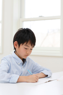 教室で勉強をする男の子の写真素材 [FYI02029496]