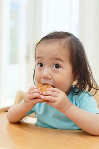 焼きおにぎりを食べる女の子の写真素材 [FYI02029881]