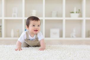 リビングをハイハイするハーフの赤ちゃんの写真素材 [FYI02029950]