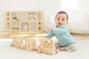 リビングで積み木で遊ぶ赤ちゃんの写真素材 [FYI02030115]