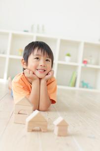 リビングで積み木遊びをする男の子の写真素材 [FYI02030220]