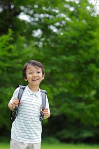 新緑の中ランドセルの男の子の写真素材 [FYI02030253]