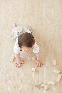 フローリングの上で積み木をして遊ぶハーフの赤ちゃんの写真素材 [FYI02030318]