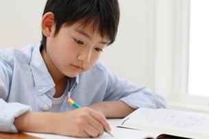 教室で勉強をする男の子の写真素材 [FYI02030390]