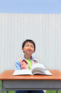 青空の下で勉強する男の子の写真素材 [FYI02030410]