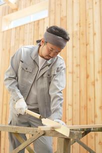 木材を切る大工の男性の写真素材 [FYI02030614]