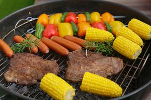バーベキューグリルの上の肉や野菜の写真素材 [FYI02030618]
