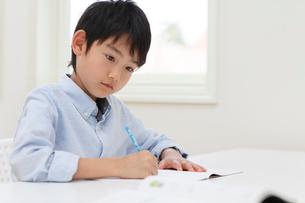 教室で勉強をする男の子の写真素材 [FYI02030649]