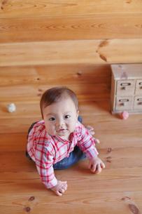 木の床に座って遊ぶ赤ちゃんの写真素材 [FYI02030678]