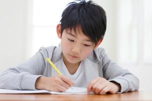 教室で勉強をする男の子の写真素材 [FYI02030839]