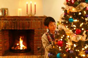 クリスマスツリーに飾り付けをする男の子の写真素材 [FYI02031341]