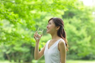新緑の中で水を飲む若い女性の写真素材 [FYI02031555]