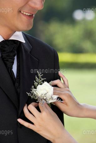 花を飾られる花婿の写真素材 [FYI02033083]