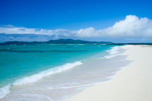 真っ青な海と白砂のビーチの写真素材 [FYI02033576]