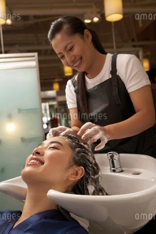 洗髪をしてもらう若い女性と美容師の写真素材 [FYI02036344]
