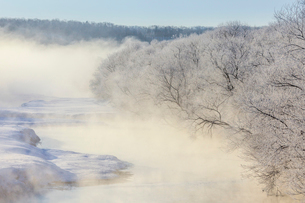 水蒸気が上がる冬の川の写真素材 [FYI02040089]