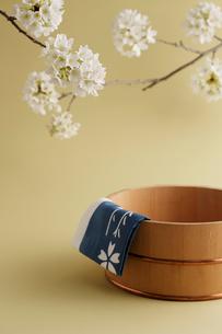 桶と桜の花の写真素材 [FYI02044861]