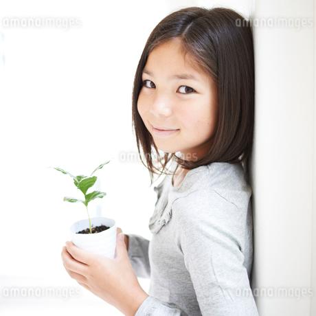 鉢植えを持つ女の子の写真素材 [FYI02049024]