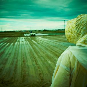 田植え期の水田を眺める農婦の後姿の写真素材 [FYI02049627]