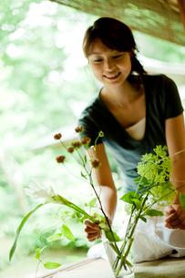 縁側で花を活ける女性の写真素材 [FYI02049908]