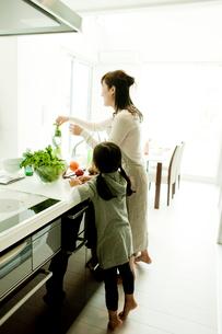 キッチンに立つ母親と女の子の写真素材 [FYI02050832]