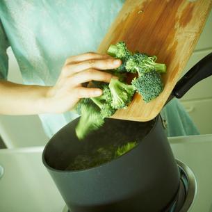 ブロッコリーを鍋に入れる女性の手元の写真素材 [FYI02051526]