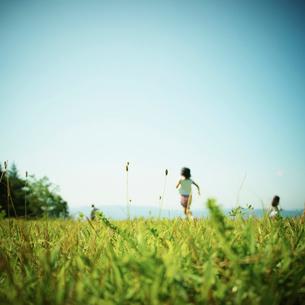 草原で遊ぶ子供達の写真素材 [FYI02051959]