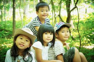 森林の中の4人の子供達の写真素材 [FYI02052026]