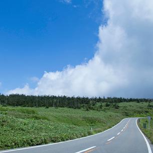 一本の道と青空の雲の写真素材 [FYI02052079]